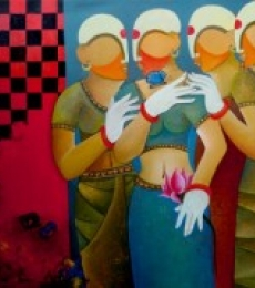 Figurative Acrylic Art Painting title 'Conversation 10' by artist Anupam Pal