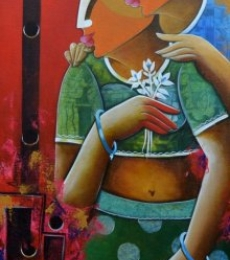 Romantic couple | Painting by artist Anupam Pal | acrylic | Canvas
