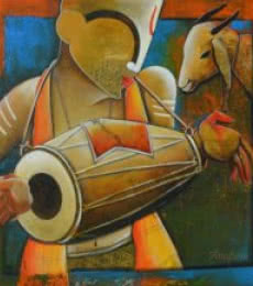 Music Mixed-media Art Painting title 'Calling Melodies' by artist Anupam Pal