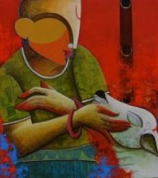 Figurative Acrylic Art Painting title Vrhythmic conversation 3 by artist Anupam Pal