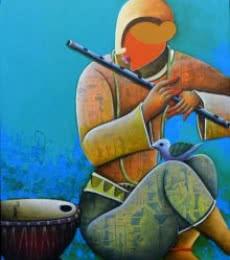 Rhythmic conversation 21 | Painting by artist Anupam Pal | mixed-media | canvas