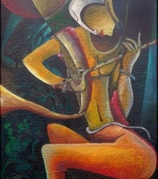 Figurative Mixed-media Art Painting title 'Muralidhar One Who Holds Th' by artist Anupam Pal