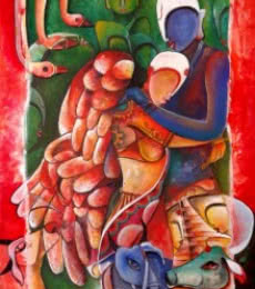 Anupam Pal | Acrylic Painting title Inviolable Love on Canvas | Artist Anupam Pal Gallery | ArtZolo.com