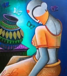 Figurative Acrylic Art Painting title 'A little conversation' by artist Anupam Pal