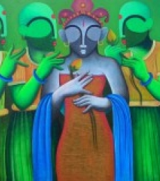 Nature Acrylic Art Painting title 'Marrage ceremony' by artist Anupam Pal