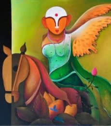 Anupam Pal | Acrylic Painting title Mother Earth on Canvas | Artist Anupam Pal Gallery | ArtZolo.com