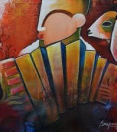 Bovine friendship | Painting by artist Anupam Pal | acrylic | canvas