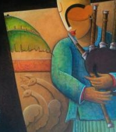 Figurative Acrylic Art Painting title 'Rhythm Devine 16' by artist Anupam Pal