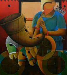 Figurative Acrylic Art Painting title 'Parthasarathi 10' by artist Anupam Pal