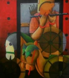 Anupam Pal Paintings | Acrylic Painting - Parthasarathi 9 by artist Anupam Pal | ArtZolo.com