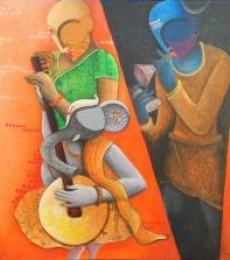 Figurative Acrylic Art Painting title Rathym Divine5 by artist Anupam Pal