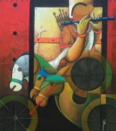 Figurative Acrylic Art Painting title 'Parthasarathi 8' by artist Anupam Pal