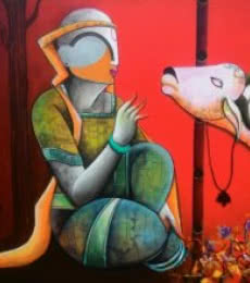 In a conversation | Painting by artist Anupam Pal | acrylic | Canvas