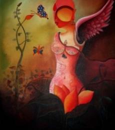 Figurative Acrylic Art Painting title 'Raving Beauty' by artist Anupam Pal