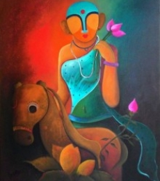 Figurative Acrylic Art Painting title 'Raving Beauty2' by artist Anupam Pal