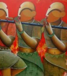 Rhythmic conversation | Painting by artist Anupam Pal | acrylic | Canvas