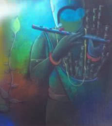 Figurative Acrylic Art Painting title 'Flute seller' by artist Anupam Pal