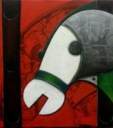 Animals Acrylic Art Painting title 'Focus on' by artist Anupam Pal