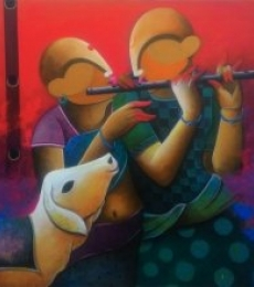 Animals Acrylic Art Painting title 'The Dual Flautist' by artist Anupam Pal