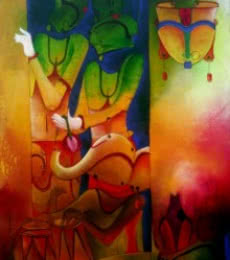 Abstract Acrylic Art Painting title 'The Invinciblle 3' by artist Anupam Pal