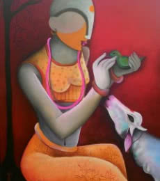Figurative Acrylic Art Painting title A Litle Conversation by artist Anupam Pal