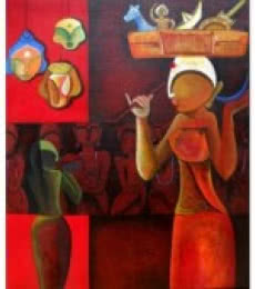 Abstract Acrylic Art Painting title Toysaller by artist Anupam Pal