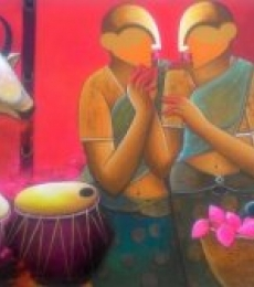 Figurative Acrylic Art Painting title Conversation by artist Anupam Pal