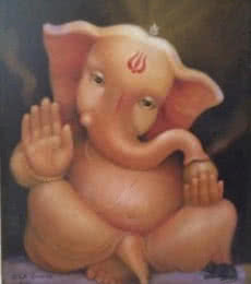 B S B Goudar | Oil Painting title Bala Ganesh on Canvas Board