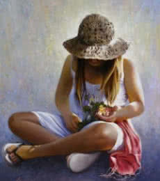 Jose Higuera | Oil Painting title Three flowers on 31.9x39.4
