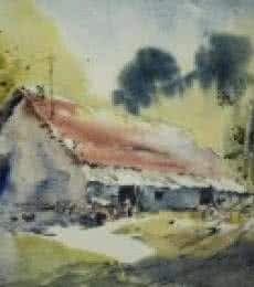 Landscape Watercolor Art Painting title Maharajbagh Hut by artist Ghanshyam Dongarwar
