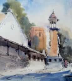 Mahal Nagpur | Painting by artist Ghanshyam Dongarwar | watercolor | Hot Pressed