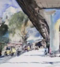 Sitaburdi Overbridge | Painting by artist Ghanshyam Dongarwar | watercolor | Hot Pressed