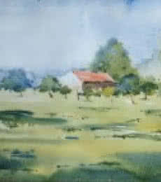 Landscape Watercolor Art Painting title 'Backside of Mihan' by artist Ghanshyam Dongarwar