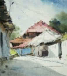 Landscape Watercolor Art Painting title A lane of Mondha Village by artist Ghanshyam Dongarwar