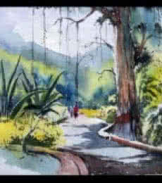 Landscape Watercolor Art Painting title 'Maharajbagh' by artist Ghanshyam Dongarwar