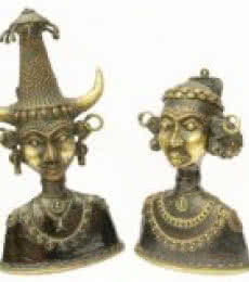 Tribal Head Pair | Craft by artist Kushal Bhansali | Brass