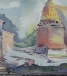 House Beside Temple | Painting by artist Prafulla Taywade | watercolor | cold pressed
