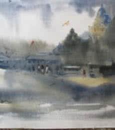 Landscape Watercolor Art Painting title '11111 131' by artist Prafulla Taywade
