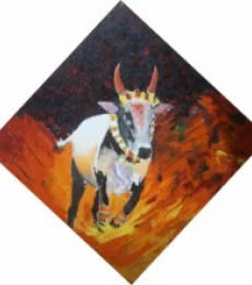 Animals Acrylic Art Painting title 'Jallikattu' by artist Vignesh Kumar