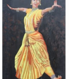 Figurative Acrylic Art Painting title 'Barathanatyam' by artist Vignesh Kumar