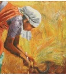 Figurative Acrylic Art Painting title 'Harvest' by artist Vignesh Kumar