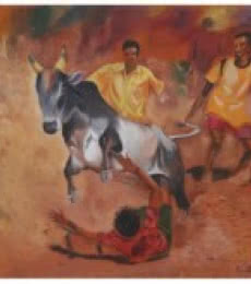 Realistic Acrylic Art Painting title 'Tamilnadu bull fight' by artist Vignesh Kumar