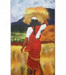Figurative Acrylic Art Painting title Harvest woman by artist Vignesh Kumar