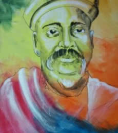 Figurative Acrylic Art Painting title 'lokmanya tilak' by artist Vignesh Kumar