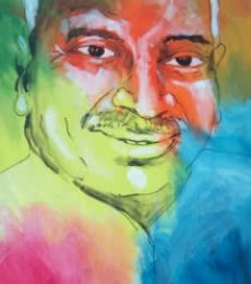 Portrait Acrylic Art Painting title Kamarajar by artist Vignesh Kumar