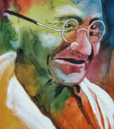 Figurative Acrylic Art Painting title Gandhi by artist Vignesh Kumar