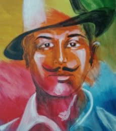 Figurative Acrylic Art Painting title Bhagat singh by artist Vignesh Kumar