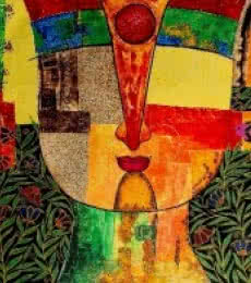 Figurative Acrylic Art Painting title Basanti IX by artist Meenakshi Jha Banerjee