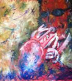 Abstract Oil Art Painting title 'Jazz Player' by artist Tanuj Bhramar