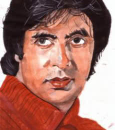 Photorealistic Watercolor Art Painting title Amitabh Bachchan the evergreen actor by artist Saurabh Turakhia